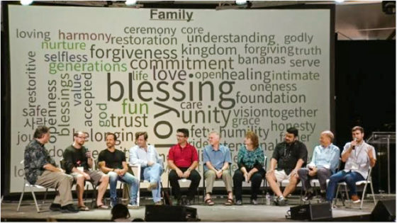 YWAM Together stage with 10 people discussing the sphere of family