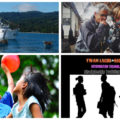 Collage of four photos showing the a YWAM ship in PNG, camera crew, children playing a balloon, and a IT Discipleship Training School