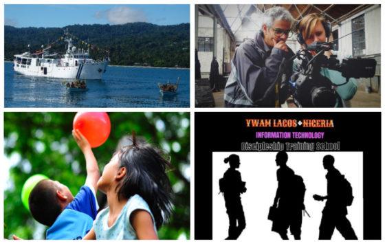 Atas, kiri ke kanan: Pacific Link tiba di Papua Nugini – Lingkup pemerintah; YWAM Harpenden – Lingkup Media. Bawah: YWAM Madison – Lingkup Pendidikan; YWAM Nigeria Teknologi Informasi DTS – Lingkup Media.