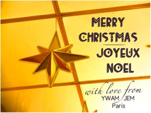 "Christmas Card from YWAM Paris saying ""Merry Christmas / Joyeux Noel"""