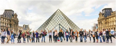 YWAM Paris DTS Students standing in front of the Louvre