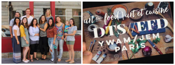Collage of YWAM Paris Leaders in one photo, and a DTS advert in another image
